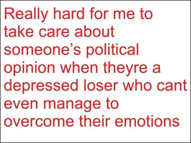 Really hard for me to take care about someone's political opinion when theyre a depressed loser who cant even manage to overcome their emotions meme