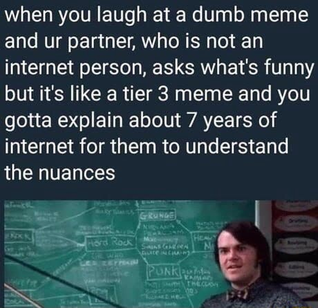 When you laugh at a dumb meme and ur partner, who is not an internet person, asks what's funny but it's like a tier 3 meme and you gotta explain about 7 years of internet for them to understand the nuances