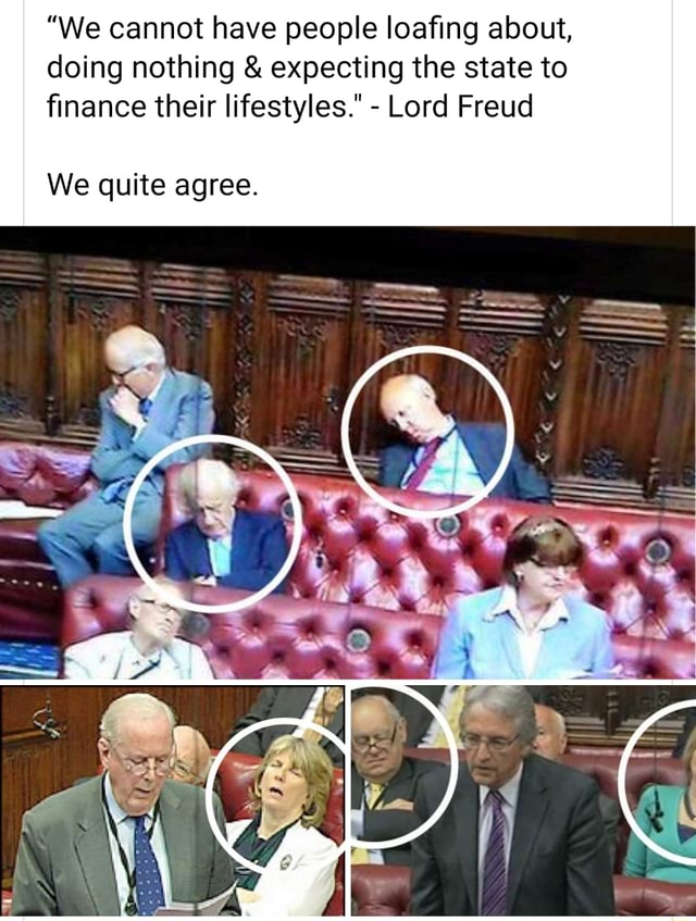 We cannot have people loafing about, doing nothing and expecting the state to finance their lifestyles. Lord Freud We quite agree memes