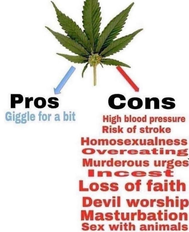 Pros Cons Giggle for a hit High blood pressure Risk of stroke Homosexualness Overeating Murderous urges LI ss Loss of faith Devil worship Masturbation Sex with animals meme