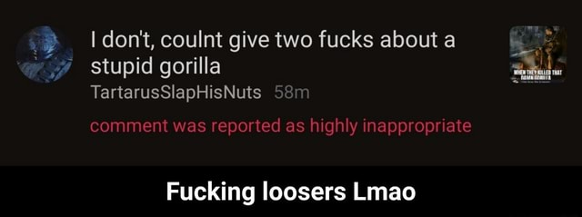 I do not, coulnt give two fucks about a stupid gorilla TartarusSlapHisNuts comment was reported as highly inappropriate Fucking loosers Lmao Fucking loosers Lmao memes