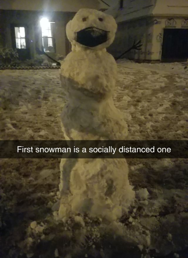 First snowman is a socially distanced one memes