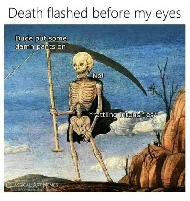 Death flashed before my eyes Dude put some pants on damn rats PCOLASSICALART MEMES