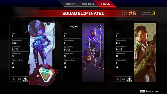 SPECTATE DEATH RECAP SUMMARY SQUAD ELIMINATED SQUAD PLACE  TOTAL WITH SQUAD. WITH SQUAD. 1 Damage Dealt 832 Survival Time Revive Given Spaghetti Kills 1 Damage Dealt Survival Time 1443 Revive Given Gi Gi Kills 1 Damage Dealt 561 Survival Time Revive Given Respawn Given 1 DeticntnI nhhy memes