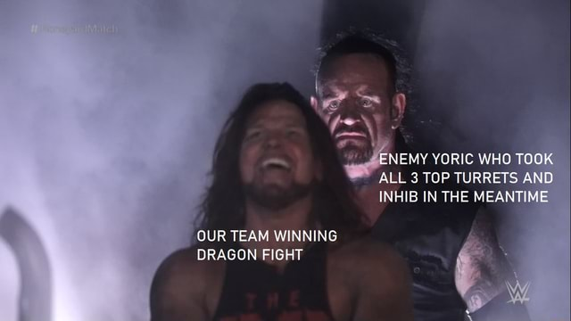 ENEMY YORIC WHO TOOK ALL 3 TOP TURRETS AND INHIB IN THE MEANTIME OUR TEAM WINNING DRAGON FIGHT memes