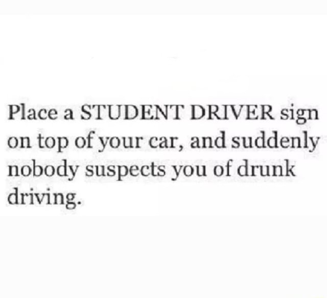 Place a STUDENT DRIVER sign on top of your car, and suddenly nobody suspects you of drunk driving memes