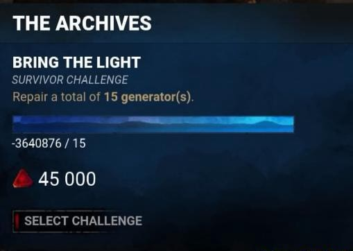 THE ARCHIVES BRING THE LIGHT SURVIVOR CHALLENGE Repair a total of 15 3640876 15 45 000 SELECT CHALLENGE meme