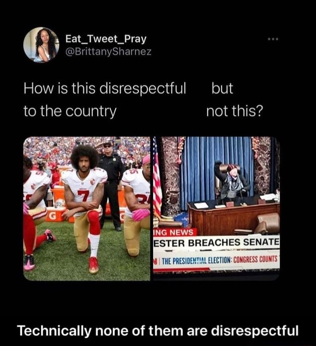 How is this disrespectful but to the country not this ESTER BREACHES SENATE THE PRESIDENTHAL ELECTION Technically none of them are disrespectful Technically none of them are disrespectful meme