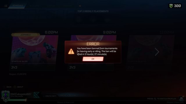 300 ERROR You have been banned from tournaments for leaving early or idling. The ban will be lifted in 2 hours}, 27 OK meme