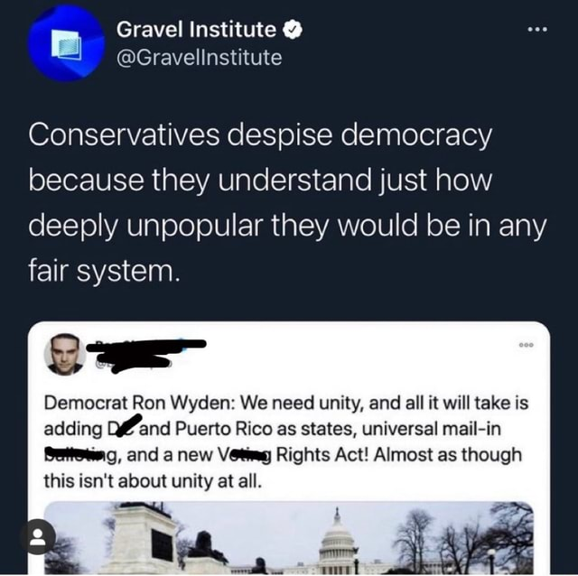 Conservatives despise democracy because they understand just how deeply unpopular they would be in any fair system. Democrat Ron Wyden We need unity, and all it will take is adding and Puerto Rico as states, universal mail in Seteeeg, and anew Vet Rights Act Almost as though this isn't about unity at all meme