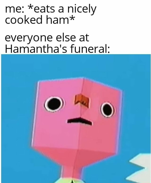 Me *eats a nicely cooked ham* everyone else at Hamantha's funeral meme