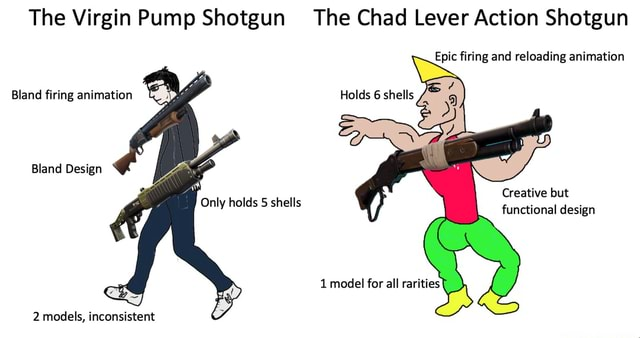 The Virgin Pump Shotgun The Chad Lever Action Shotgun Epic firing and reloading animation Bland firing animation Holds 6 shells Only holds shells Bland Design Creative but functional design 1 model for all rarities 2 models, inconsistent memes
