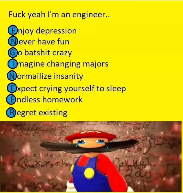 Fuck yeah I'm an engineer joy depression ever have fun po batshit crazy Dmagine changing majors Qormailize insanity crying yourself to sleep  ndless homework egret existing memes