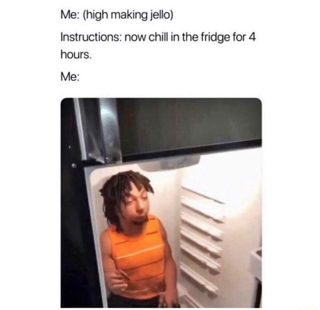 Me  high making jello Instructions now chill in the fridge for hours. Me memes