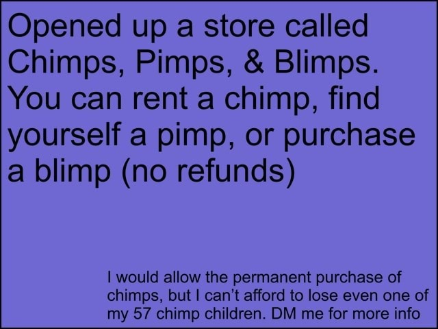 Opened up a store called Chimps, Pimps,  and  Blimps. You can rent a chimp, find yourself a pimp, or purchase a blimp no refunds would allow the permanent purchase of chimps, but I can not afford to lose even one of my 57 chimp children. DM me for more info memes