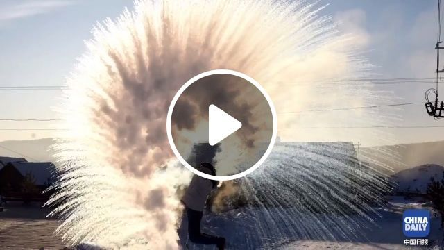 Turning boiling water into snow instantly!