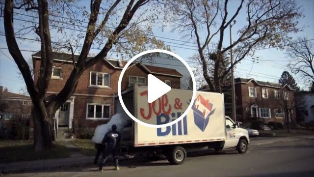 Home moving service and lazy husband, moving home, home services, funny, truck, arm chair, tv remote controls