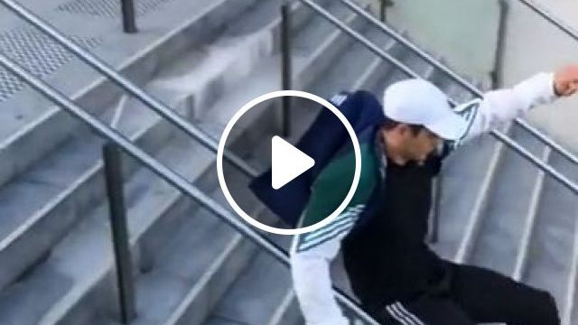 Guy Slides Down Handrail. So Amazing - Funny Videos - funvizeo.com - humor,stairs,handrail