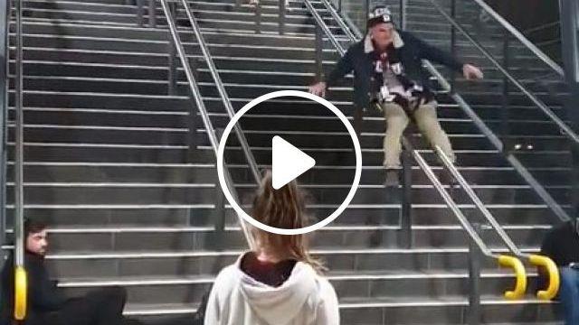 Handrail Slide Fail - Video & GIFs   funny, guy slides down handrail