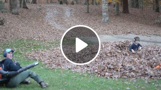 Mischievous Children, LOL - Video & GIFs | funny, funny videos, leaf, kid, leaf blower