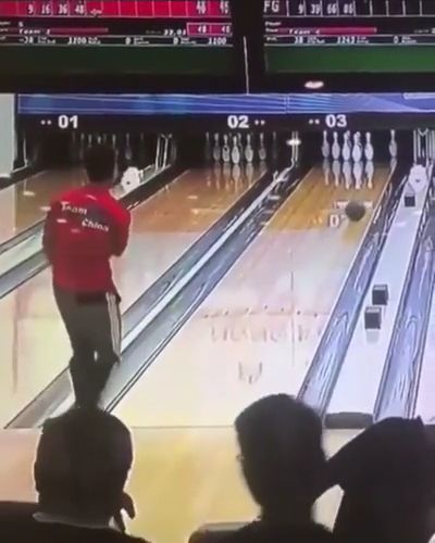 Lucky bowling guy