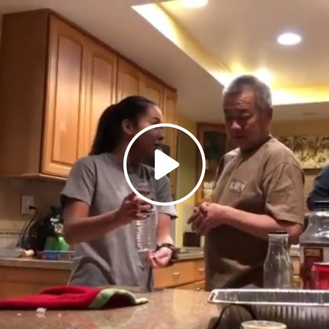 Dad Is Fooled By Water Bottle Magic Trick - Video & GIFs | reddit, funny, dad_is_fooled_by_water_bottle_magic_trick