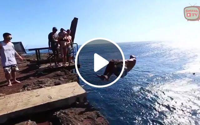 Impressive jumps, summer travel, funny, jump, sea, space exploration