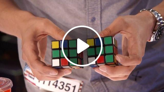 Rubik master - How did he do that?, rubik, talent, magic, funny, paper bags