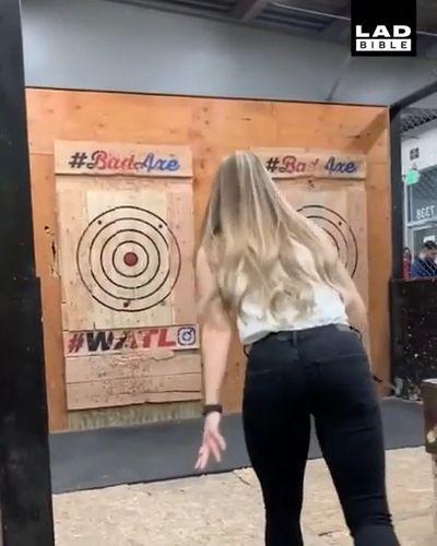 Lucky Girl - Funny Videos - funvizeo.com - axe throwing game,funny,poleax,lucky
