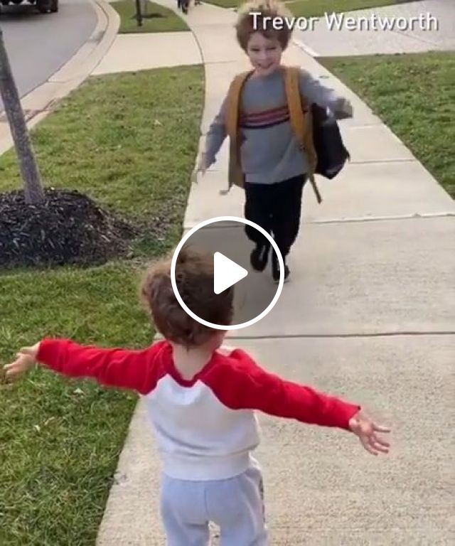 His Little Brother Was Waiting For Him After School. - Video & GIFs | funny, brother, school, sweet