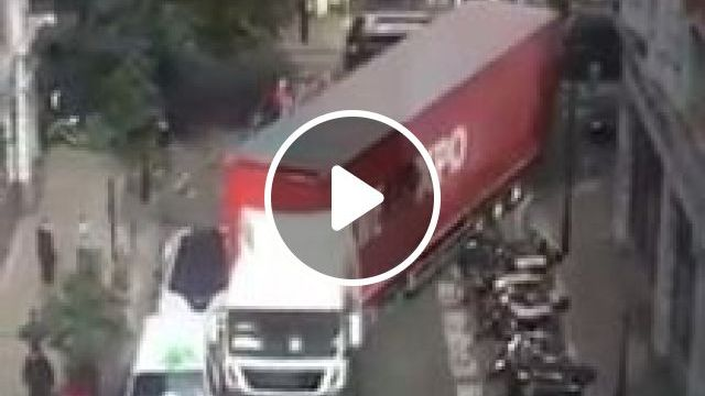 Driver heavy trucks through tight bend