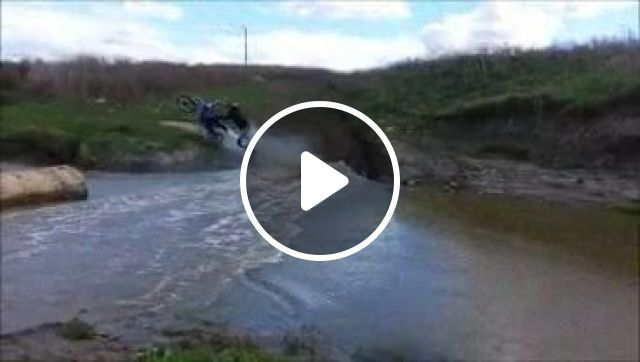 Wait for it!, river, motorcycle, funny, surprise