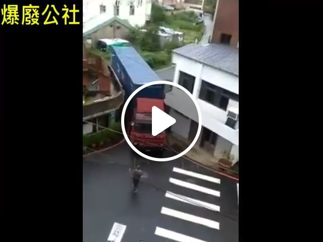 Do you think this truck can pass through the narrow slot?, truck, funny, driving skill