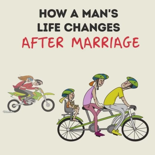 How a man's life changes after marriage - Funny Videos - funvizeo.com - man, life changes after marriage, funny, family, bicycle, television, car, travel