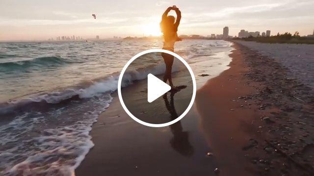Dawn on the beach, dawn, beach, dance, beautiful nature, summer, vacation, travel