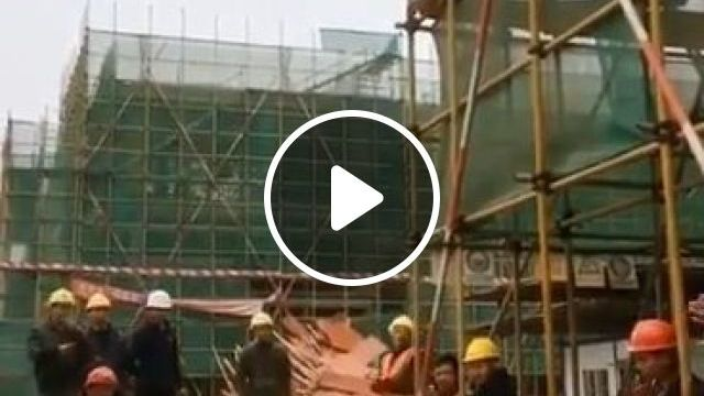 Dancing construction worker