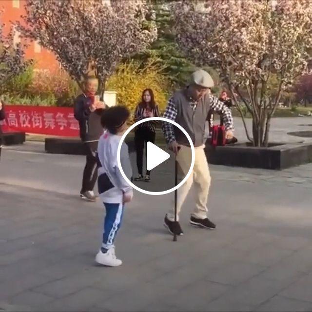 Grandpa dancing with his grandson, grandpa, grandson, funny, dancing