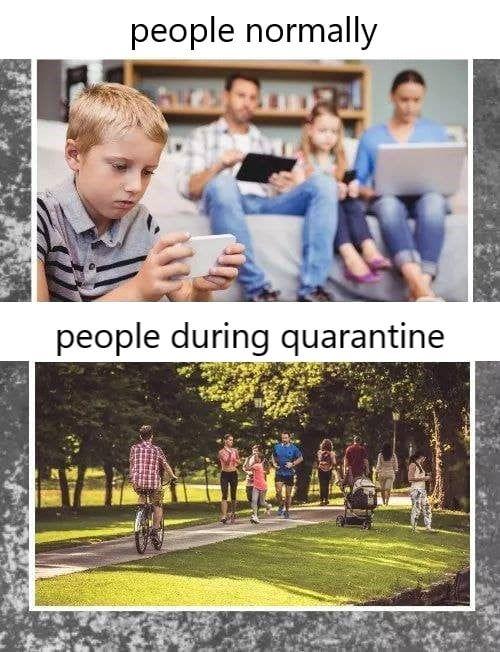 People during a coronavirus quarantine meme