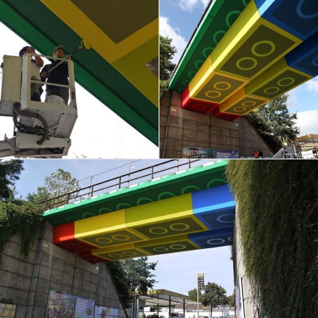 Real life Lego bridge in Wuppertal, Germany