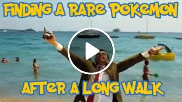 Finding a rare pokemon, game, pokemon go, mr bean, funny, camera, beach, sea