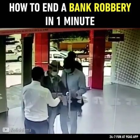 How to end a bank robbery in 1 minute - Video & GIFs | robbery, funny, bank, smart, security, glass door, lock, money