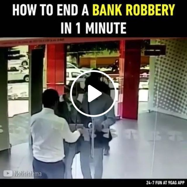 How to end a bank robbery in 1 minute, robbery, funny, bank, smart, security, glass door, lock, money